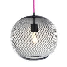 keep cane globe pendant light charcoal track hand blown glass