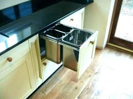 sliding under cabinet trash can garbage and recycling bin pull out drawer dimensions from garb double caddy