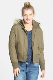 hooded er jacket with faux fur trim juniors