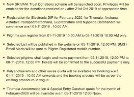 Tirumala Accommodation Availability Chart Ttd Seva Online Darshan Accommodation Arjitha Seva Booking