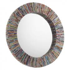 mirror round. cohen multi-coloured recycled magazine round wall mirror l