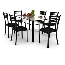 6 seater glass dining table set