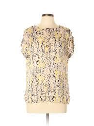 Liz Claiborne Size Chart Details About Liz Claiborne Women Yellow Short Sleeve Blouse Lg Petite