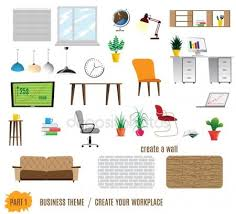 isometric office furniture vector collection. Collection Of Office Furniture Isometric Vector