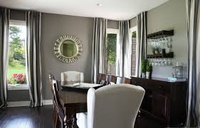 painted dining room furniture ideas. Grey Paint For Contemporary Dining Room Design With Round Wall Mirror And Dark Brown Furniture Ideas Painted