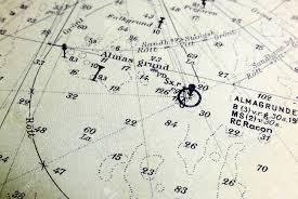Macro Shot Of A Marine Chart Detailing Stockholm Archipelago