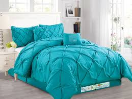 6 pc diamond pinched pleated ruffled pintuck comforter set turquoise blue king in home