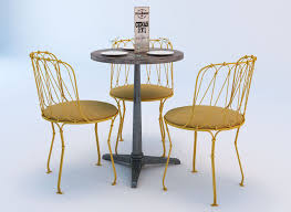 bistro table and chair set 3d model