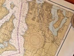 Large Noaa Nautical Chart Map Sea Ocean 44x36 Puget Sound