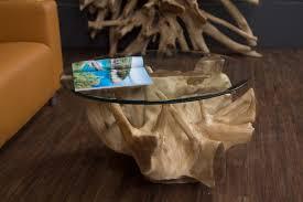 Unabhängig vom stil und material eines. Runder Baumwurzel Couchtisch Aus Suar Massivholz Mit Glasplatte Nr 18232