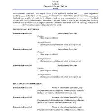 Sample Resume For Preschool Teacher With No Experience In India