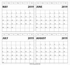Printable 2019 Calendar 3 Months Per Page Printable