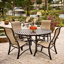 outdoor sling chairs. 5 Pc Cortland Sling Dining Set With Slatboard Top Outdoor Chairs