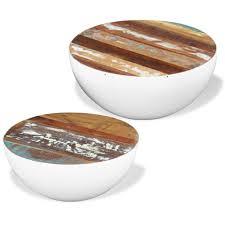 vidaXL <b>Two Piece Bowl Shaped</b> Coffee Table Set Solid Reclaimed ...