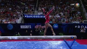 olympic gymnastics trials simone biles falls off balance beam