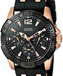 guess men s u0366g3 sporty multi function watch on a comfortable guess men s u0366g3 sporty multi function watch on a comfortable black silicone strap rose gold tone interlinks day date 24 hour international time