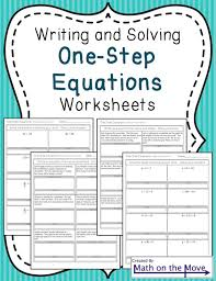 solving one step equation worksheets