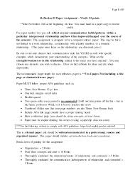 interpersonal communication reflection paper assignment page 1 of 5 reflection 2 paper assignment worth 25 points