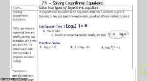 7 4 solving logarithmic equations