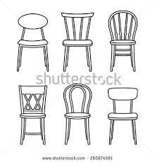furniture set clipart black and white. vector outlined chair furniture icon set clipart black and white r