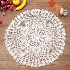 60cm handmade crochet lace placemat doilies cotton round white tablecloth home decor
