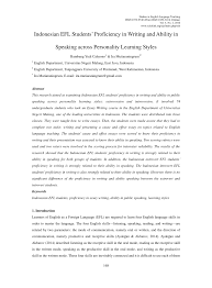 n efl students proficiency in writing and ability in   n efl students proficiency in writing and ability in speaking across personality learning styles pdf available