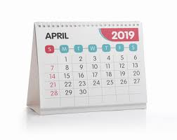 Office Calender April White Office Calendar 2019 Isolated On White Photo