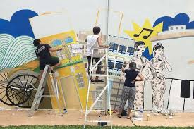 putting the art in heartland housing news top stories the straits times on wall mural artist singapore with putting the art in heartland housing news top stories the