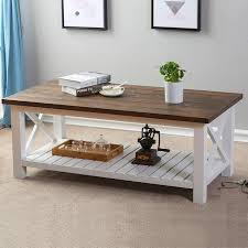 furnichoi wood rustic coffee table farmhouse vintage cocktail table with shelf for living room