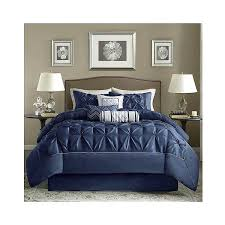 dark blue bedding 7 piece comforter set navy a liked on featuring home bed bath comforters dark blue bedding