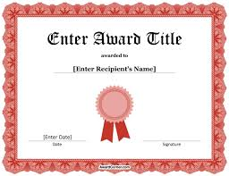Red Ribbon Certificate Template For Microsoft Word