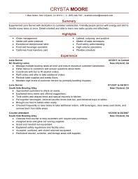 Server Resume Skills Lane Server Media And Entertainment Crysta