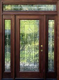 wood and glass exterior doors stained front panel