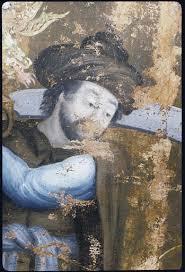 Tableau : 'Le supplice de sainte Barbe', détail visage Dioscore, père de  sainte Barbe, turban, cimeterre ; avant