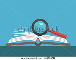 magnifying gl on open book lying on table on blue background education reading