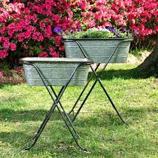 galvanized planters removable with iron stand set of 2 antique farmhouse tub planter wall ideas galvanized planters