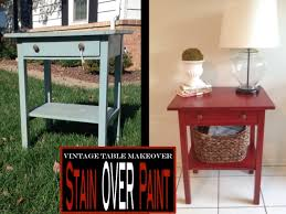 antique painted table using stain over