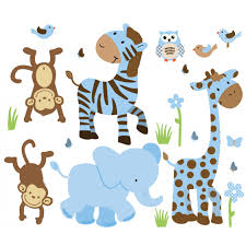 blue brown nursery jungle wall decals with zebra decals for boys rooms