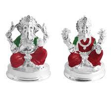 ganesh and laxmi idols in silver