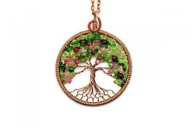 tree of life necklace pendant tree of life jewelry family tree copper pendant wire tree of life wire wrapped pendant multicolor pendant