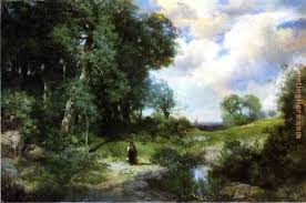 young girl in a long island landscape painting thomas moran young girl in a long