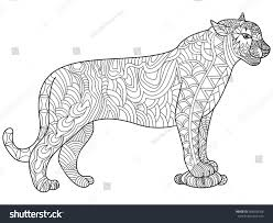 Panther Coloring Book Adults Vector Illustration Stock Vector ...