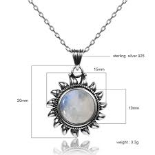 Original Sun Design 10MM Natural Moonstone <b>925 Sterling Silver</b> ...