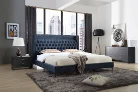 wales modern blue fabric bed