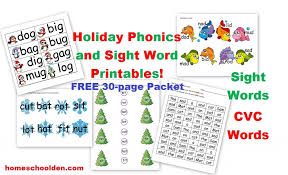 FREE Sight Word and CVC Holiday Activity Packet - Homeschool Den