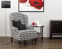traditional wingback chairs. Furniture: Unique Black And White Wingback Chair Slipcover With 2 Cushions - Traditional Chairs