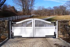 beautiful wood entrance gates add natural beauty to your property