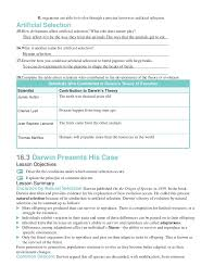 Darwin S Theory Of Evolution Chart Pearson Chapter 16 Worksheets