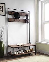 Entryway Shoe Bench With Coat Rack Enchanting Vintage Dark Brown Entryway Shoe Bench With Coat Rack Hall Tree