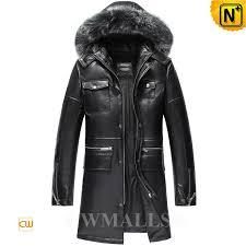 cwmalls men s leather down coat with fox fur hood cw806102